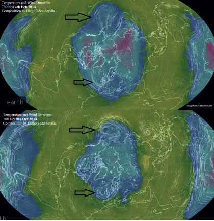 2 events 2014 to 2015 700hPa T NH