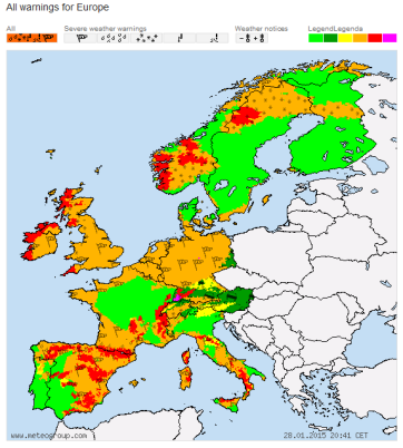 Weather alerts Europe 28 Jan 2015