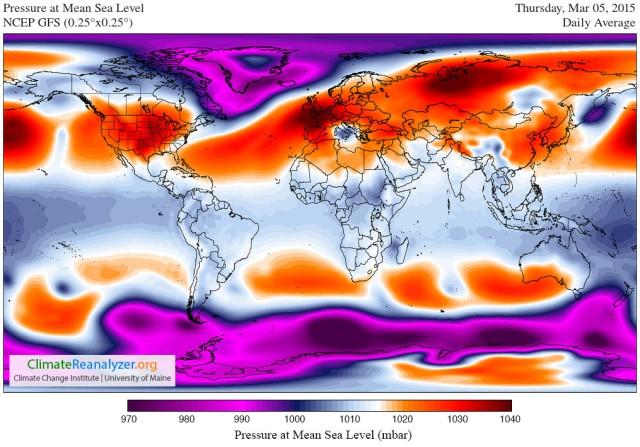 5 March Pressure GFS-025deg_WORLD-CED_PMSL