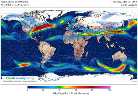 Jet stream GFS-025deg_WORLD-CED_WS250