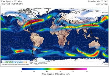 Jet stream GFS-025deg_WORLD-CED_WS250
