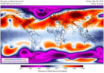 Pressure 6 March 2015 GFS-025deg_WORLD-CED_PMSL