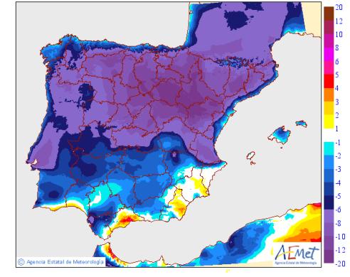 2015051900+024_Maximum temperature variation for today in the Peninsula and Balearic Islands