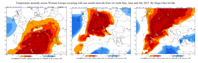 1st week monthly intervals Temp Anomaly Wester Europe 2015 by Diego Fdez-Sevilla