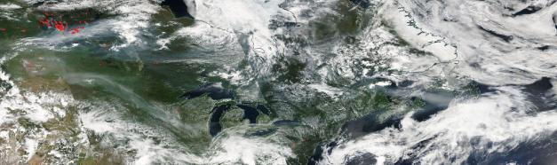 Canadian fires 10 July Aqua Modis