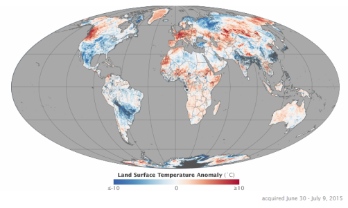 land surface temperature anomalies for June 30 to July 9