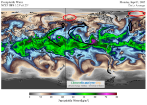 Water vapour circulation globally 7th Sept 2015 DiegoFdezSevilla