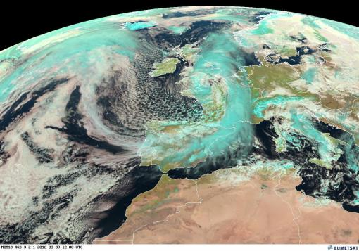 Cold Burst of Polar Air moving south over Europe. Eumetsat. Diego Fdez-Sevilla