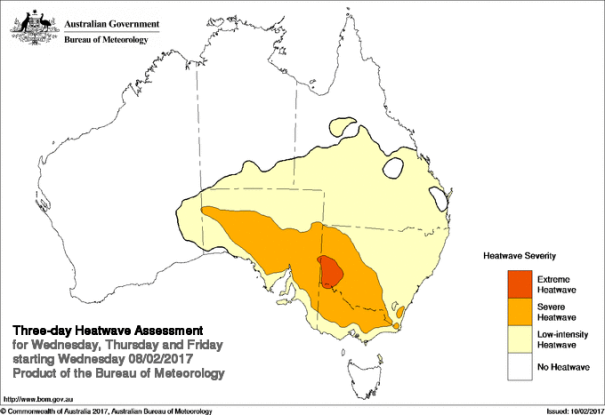Heatwave Situation for Wednesday, Thursday, & Friday (3 days starting 8/02/2017) Extreme heatwave conditions develop over southwest New South Wales, with severe heatwave conditions continuing through much of the inland parts of SA and extend further into southern and western NSW and northern Victoria. The area of low intensity heatwave conditions covers much of South Australia, Victoria, New South Wales, southern Queensland and far southern areas of the Northern Territory.